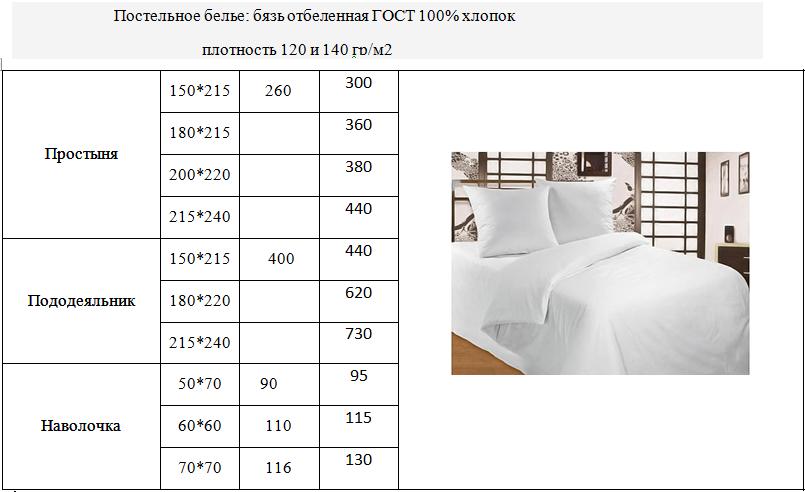 Постельное белье для гостиниц и отелей Бязь ГОСТ